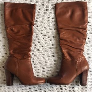 Aldo Size 10 Brown Heeled Knee High Leather Boots